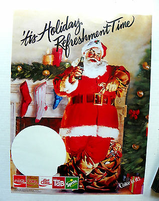 "1970's ""ENJOY COCA-COLA  ~ COKE IS IT"" SANTA STANDING FIREPLACE POSTER"
