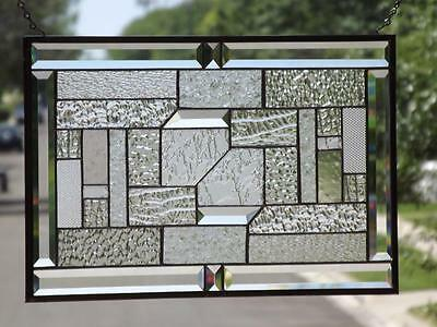 "• CLEAR FOCUS•Beveled Stained Glass Window Panel • ≈21 1/2""X13 1/2""(55 x34.5Cm"