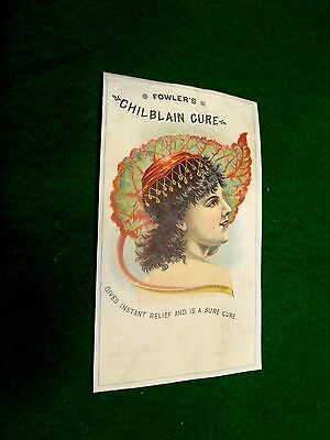 1870s Fowler's Chilblain Cure Lovely Lady Leaf Art Nouve Victorian Trade Card Y3