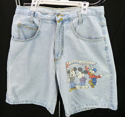 Vintage 90s Disney Mickey Unlimited Jerry Leigh Denim Shorts L 32 Waist Hip Hop