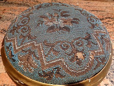 Antique Beaded Gold Gilt Wooden Base Foot Stool Foot Rest