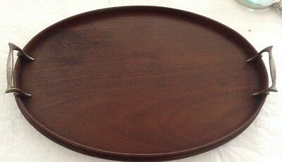Vintage Oval Wooden Mahogany? Tray with Metal Brass? Handles 16 3/4""
