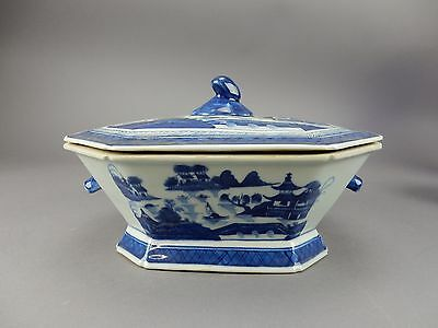 Antique Chinese Export Canton Tureen with Boars head Handles 19th century 12 ""