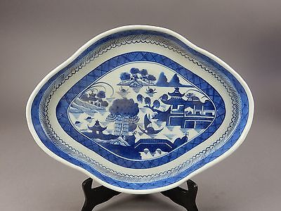 Antique Chinese Export Canton Tea Pot Stand Platter rare 19th Century 14.5 ""