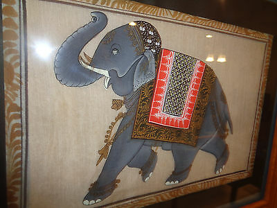 Vintage Indian painting fabric silk Persian Elephant framed Hindu Collectible