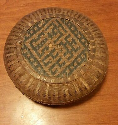 Vtg Antique Basket Round Chinese Asian Woven Wicker Reed Sewing
