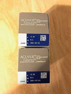 Acuvue Oasys Hydraclear plus 48 lenses (2 x 24 PACK) D -5.75 BC 8.4