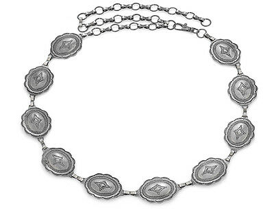 Western Cowgirl Jewelry Antique Silver Concho Belt