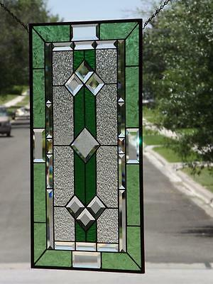 "~CLASSIC GREEN~Beveled Stained Glass Window Panel • 28 3/8""x15 3/8"" (72x39cm)"