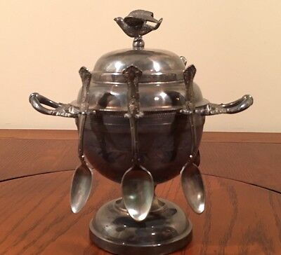 Estate Antique Victorian Silver Plate Sugar Bowl & 6 Spoon Caddy Bird Atop