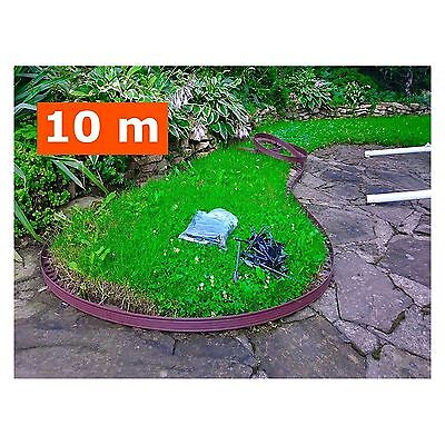 Flexible Plastic Garden Grass Lawn Edging Border 10 m + 30 Securing Pegs Brown