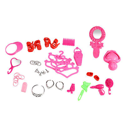 Barbie & Doll Clothes Jewelry Necklace Earring Comb Shoes Accessory Lot of 41Pcs