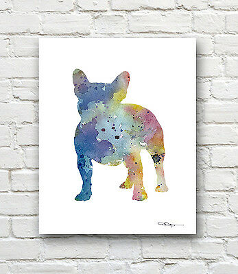 French Bulldog Abstract Watercolor Painting Contemporary Art Print by Artist DJR