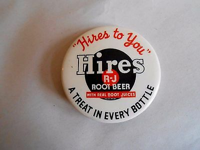 Vintage Hires Root Beer A Treat in Every Bottle Advertising Pinback Button