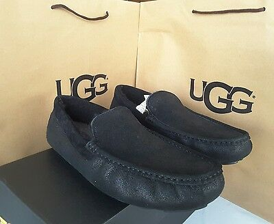 UGG Men's Moccasin Slippers Hendrick Bomber Furry Black suede size 10 $155