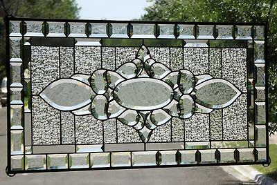"• Simply Elegant•• HUGE Beveled Stained Glass Window Panel • 38 1/2""x18 ½""( 98x"
