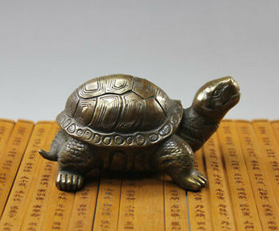 Exquisite Copper Brass Carved Animal tortoise sea Turtle Statue