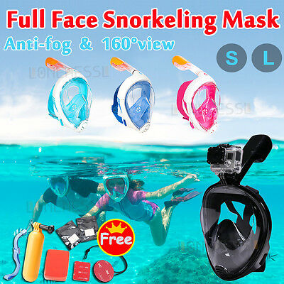 Full Face Snorkeling Snorkel Mask Diving Goggles W/ Breather Pipe For GoPro AU