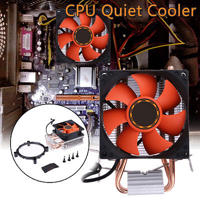 Aluminum Computere CPU Cooler Double Heatpipe Radiator Heatsink Fan for Intel