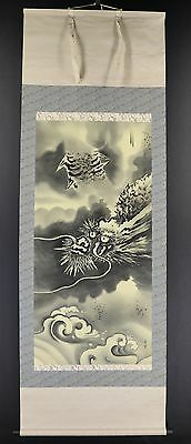 "JAPANESE HANGING SCROLL ART Painting ""Dragon"" Asian antique  #E4986"