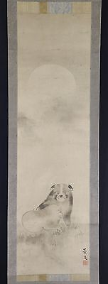 "JAPANESE HANGING SCROLL ART Painting ""Dogs"" Asian antique  #E5019"