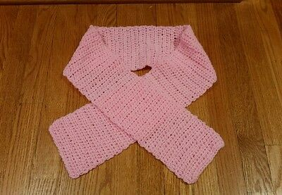 HAND KNIT Girl's Scarf Pink NEW