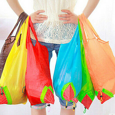 10 Pieces Strawberry Shopping Bags Reusable Foldable Eco Friendly Totes