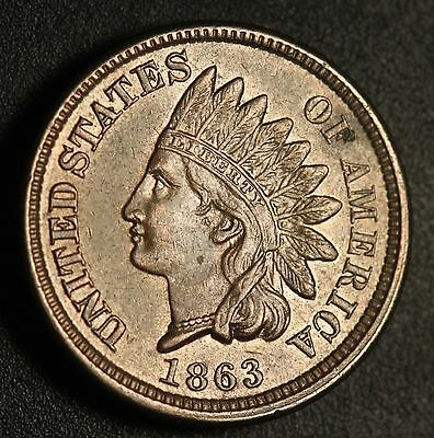 1863 INDIAN HEAD CENT - AU BU UNC - With a TOUCH OF CARTWHEELING MINT LUSTER!