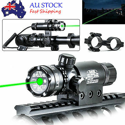 Tactical Green Laser Sight Rifle Gun Mount Scope Rail Remote Switch Hunting ALG