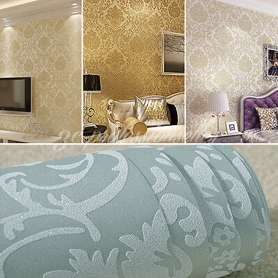 33Ft Luxury Floral Textured Non-Woven Wallpaper Rool Living Room Bedroom Tv Back