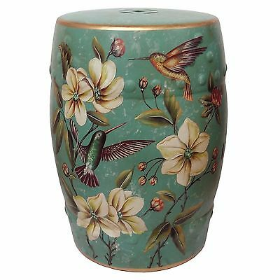 Beautiful Porcelain Oriental Turquoise Green Humming Birds Stool Chinese