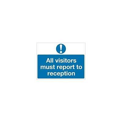 M78AR , Safety Sign All Visitors Must Report to Reception 450x600mm PVC