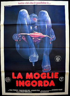 Manifesto Poster Movie Cinema La Moglie Ingorda Del Rio Erotico Sex Hard Core S4