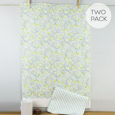 New Sophie Conran Ulster Weavers Mira Green Floral Cotton Tea Towel Set 2 Pack