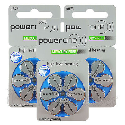 Power One 675 Size Hearing aid batteries Zinc air Mercury free Varta x 60 cells