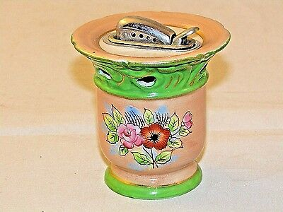 Vtg Porcelain  Cigarette Table Lighter Japan Floral  Collectible