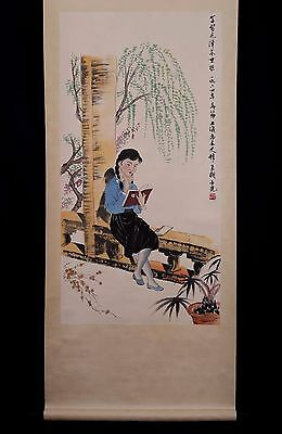 Nice Vintage Chinese Paper Figure Scroll Painting Mark HuYaGuang PP482