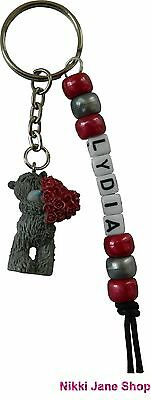 Me To You Personalised Name Keyring Tatty Teddy - Charm Red Roses Heart