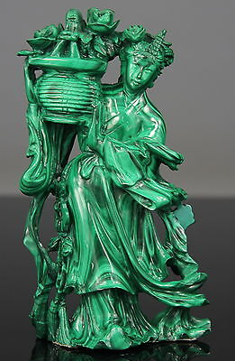 Antique Chinese Carved Malachite Statue Figure Kwanyin 19th C. Qing