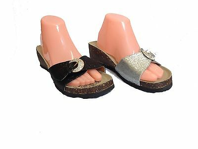24x JOB LOT WOMENS LADIES FLAT CORK MOULDED FOOTBED FLIP FLOP BUCKLE SUMMER SAND