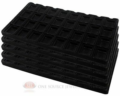 5 Black Insert Tray Liners W/ 32 Compartment Earrings Organizer Jewelry Display