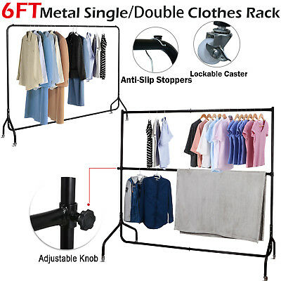 6FT Metal Clothes Rail Heavy Duty Rolling Garment Rack Coat Dryer Hanger Stand