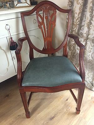 Chippendale Style Leather Seat Arm Chair
