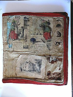 c1860 Victorian Cloth Scrapbook Childrens Antique Scraps Nursery Rhymes Stories
