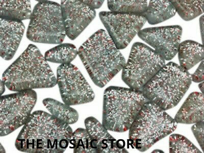 Silver Glitter Glass Tiles Irregular Shape - Mosaic Tie Art & Craft Supplies
