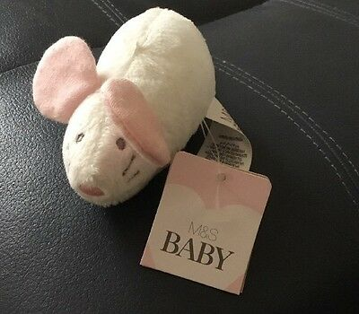 MARKS & SPENCER BABY Pink & White Mouse Soft Toy Rattle Comforter - NEW