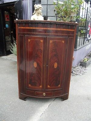 Antique Georgian mahogany Corner Cupboard -Mahogany Regency Bow Fronted Cabinet