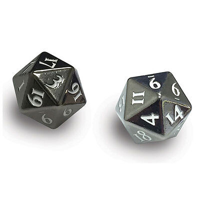 ULTRA PRO - Heavy Metal D20 2-Dice Set - Gun Metal with White Numbers NEW