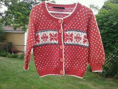 Windfjord 100% New Wool Child's Cardigan  Sweater  Size 1 - 2  Bergen Norway Euc