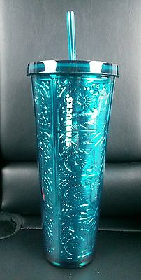Starbucks MOTHERS DAY 2017 Embossed Teal Metallic Acrylic Cold Cup  New 24oz